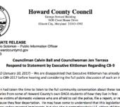 Councilman Calvin Ball and Councilwoman Jen Terrasa Respond to Statement by Executive Kittleman Regarding CB-9