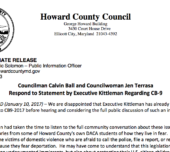 Councilman Calvin Ball and Councilwoman Jen Terrasa Respond to Statement by Executive Kittleman Regarding CB-9